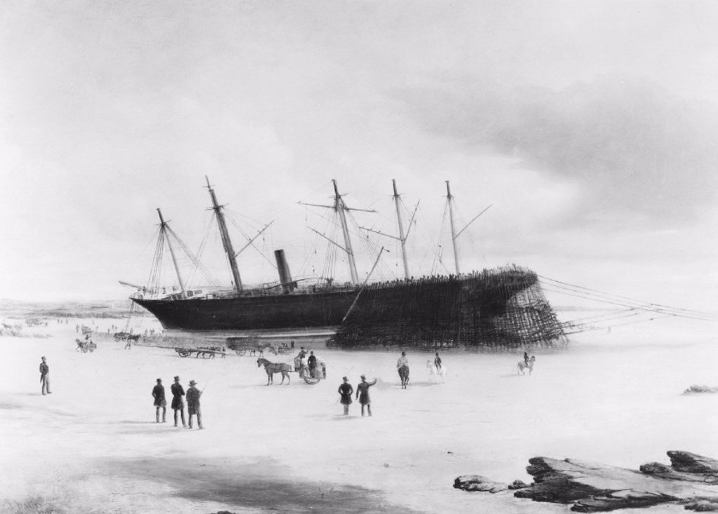 SS ´Great Britain´ ashore in Dundrum Bay, Ireland, 1846. : Stock Photo