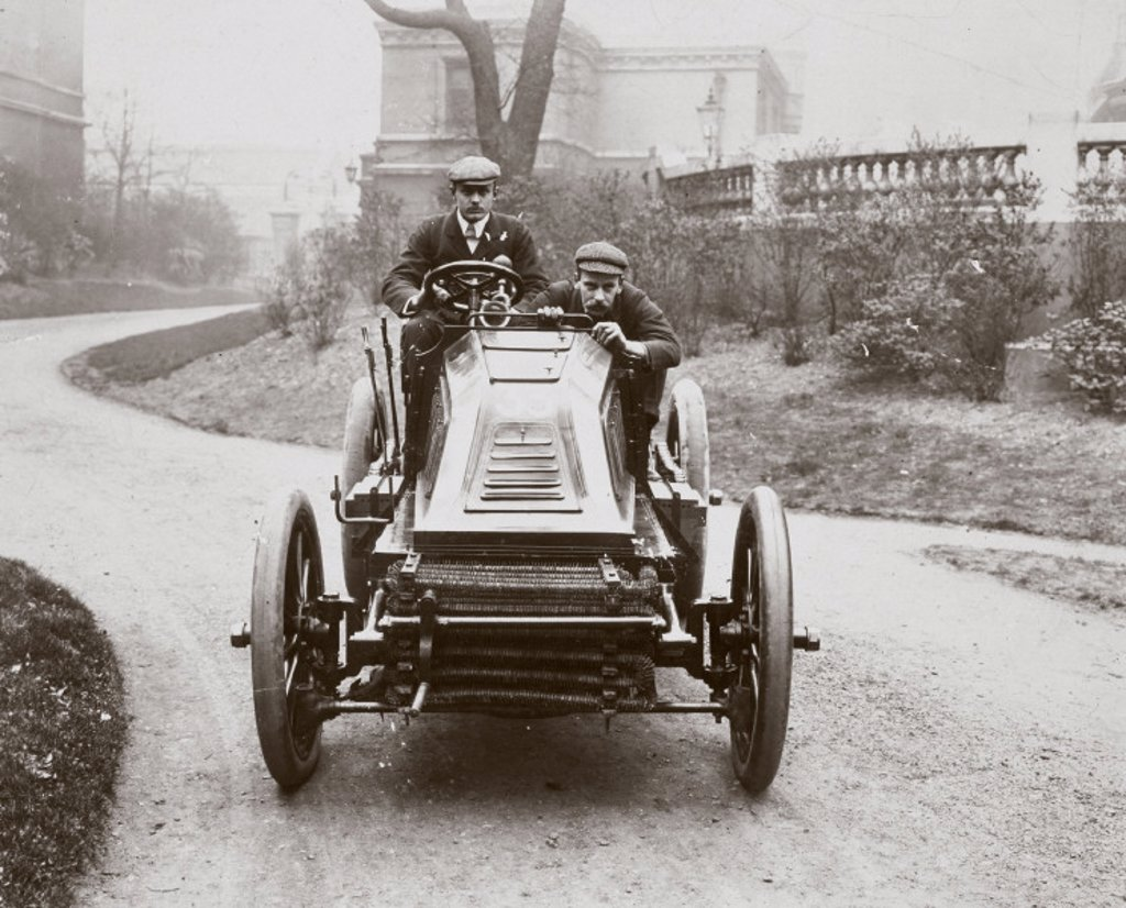 Stock Photo: 1895-21179 C S Rolls driving his 60 hp Mors motor car, 1902.