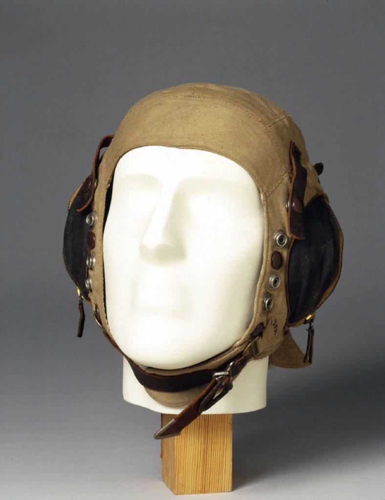 Fabric flying helmet, c WWII. : Stock Photo