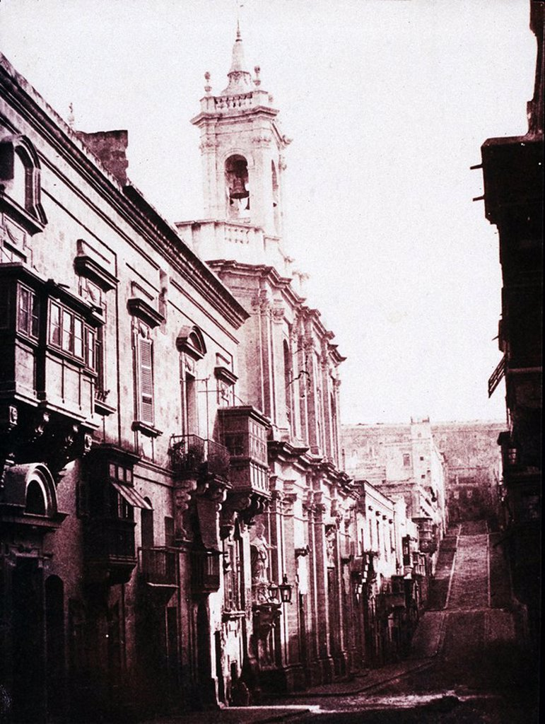 ´View in Strade Forni´, Malta, 1840-1877 : Stock Photo