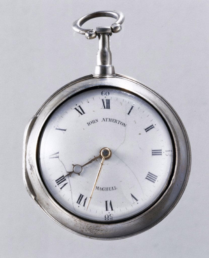 Pocket watch in silver pair case, c 1800. : Stock Photo