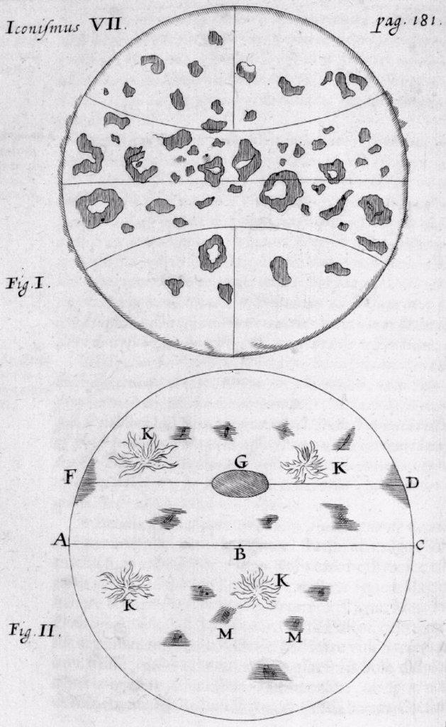 Sunspots, 1660. : Stock Photo