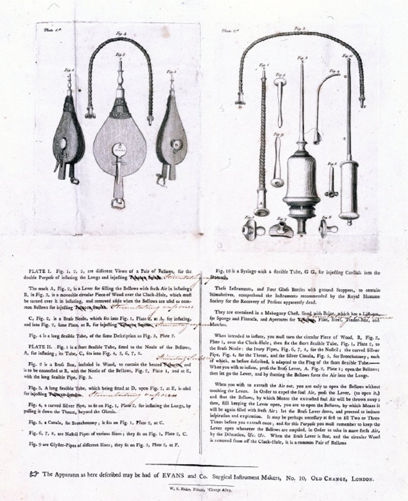 Tobacco resuscitator, 1774. : Stock Photo