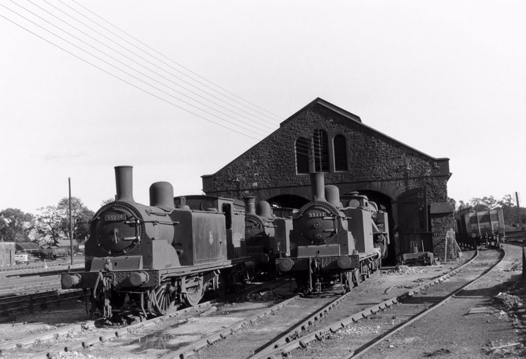 Steam locomotives and shed, Scotland, c 1930. : Stock Photo