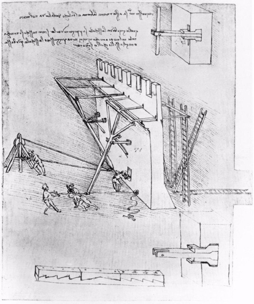 Stock Photo: 1895-21912 Leonardo's designs for breech-loading gun and moveable tower, c 1480s.
