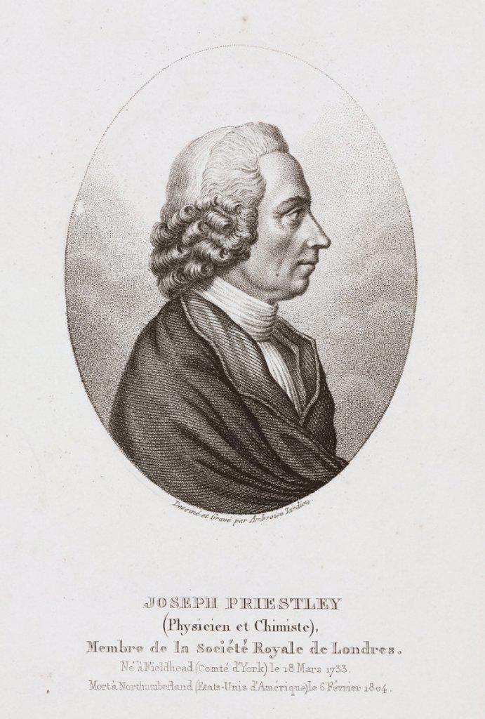 Joseph Priestley, English-American theologian and chemist, c 1780. : Stock Photo