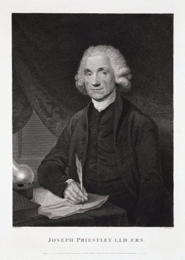 Joseph Priestley, English-American theologian and chemist, 1794. : Stock Photo
