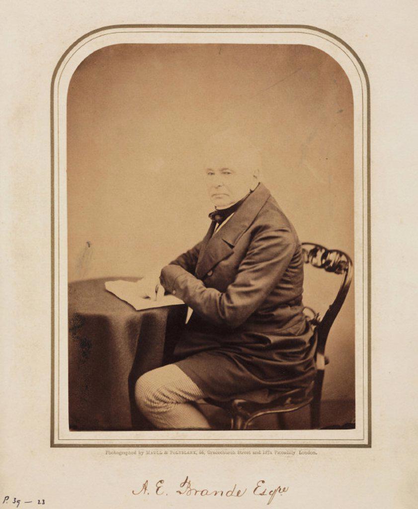 A E Brande,  1854-1866. : Stock Photo