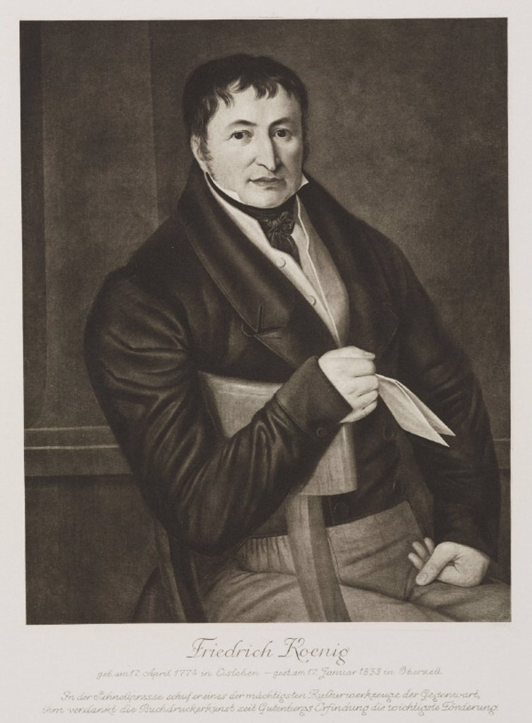 Friedrich Koenig, German printing pioneer, early 19th century. : Stock Photo
