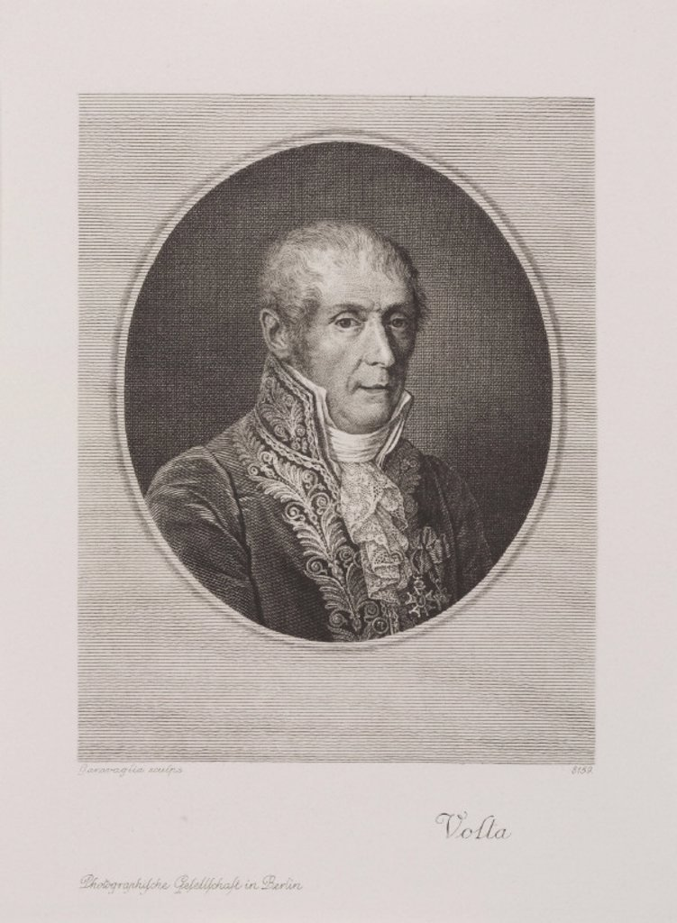Alessandro Volta, Italian physicist and inventor, c 1820. : Stock Photo