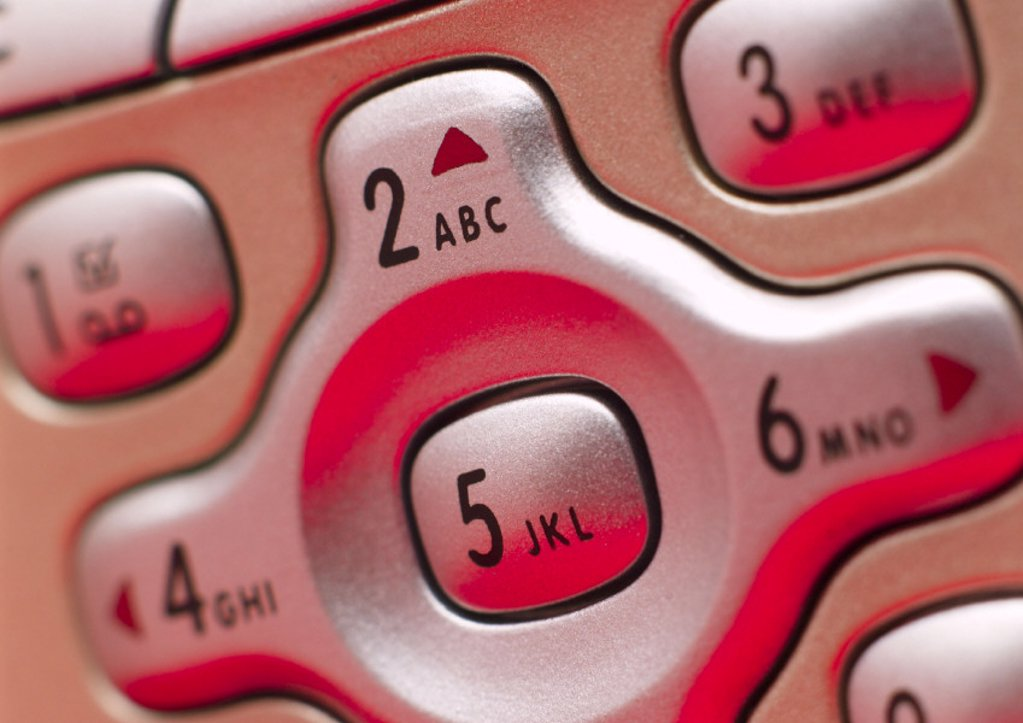 Detail of Philip's 'Fisio 820' mobile phone, 2003. : Stock Photo