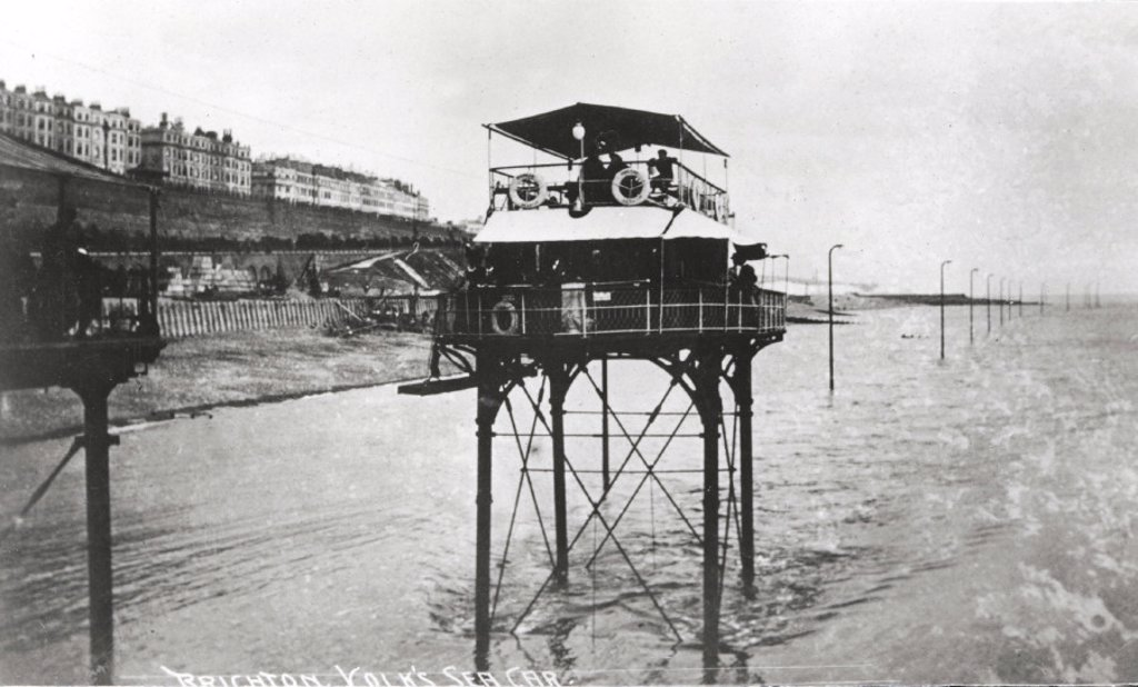 Stock Photo: 1895-23219 Volk's sea car, Kemptown, Brighton, East Sussex, 1896-1901.