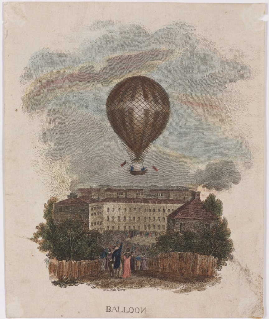 Stock Photo: 1895-23341 The 'Nassau' balloon over London, c 1836.