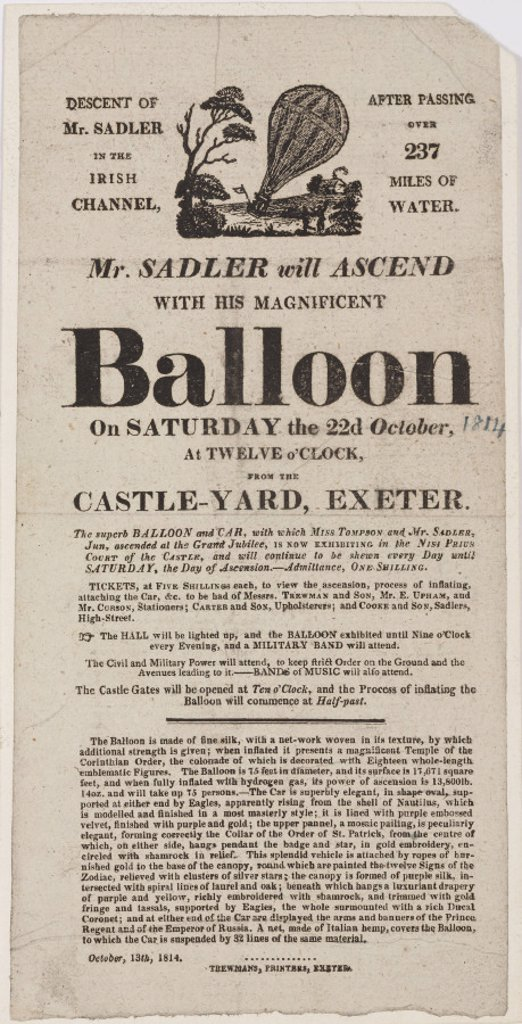Handbill announcing Sadler's balloon ascent, 1814. : Stock Photo