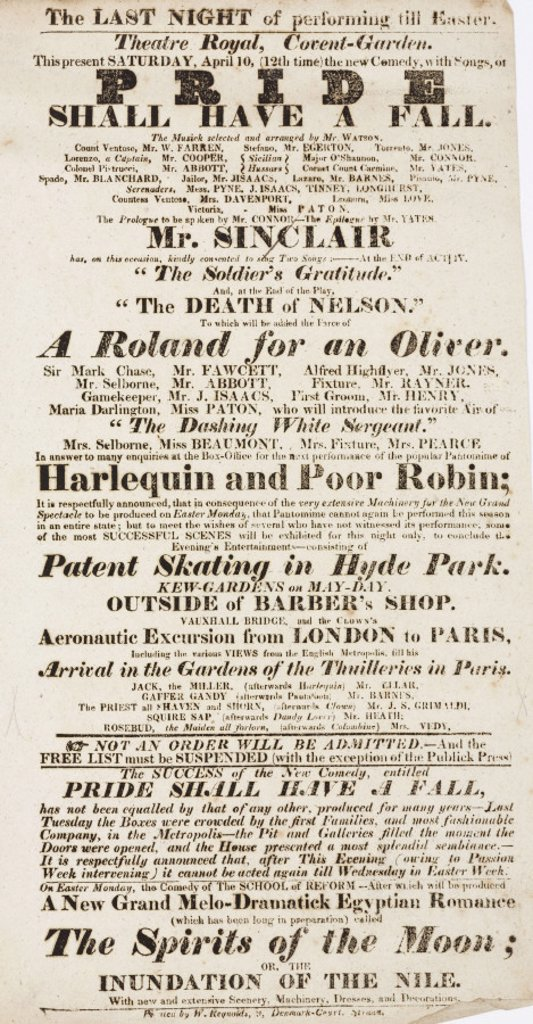 Handbill advertising a theatre programme, c 19th century. : Stock Photo