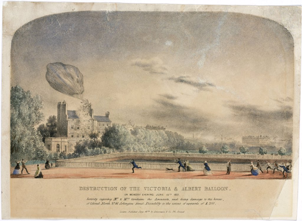 The destruction of the 'Victoria & Albert' balloon, 16 June 1851. : Stock Photo