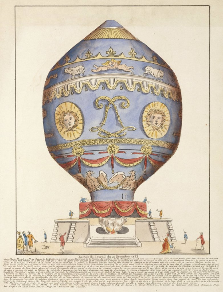 The first manned free flight ascent in a balloon, 21 November 1783. : Stock Photo