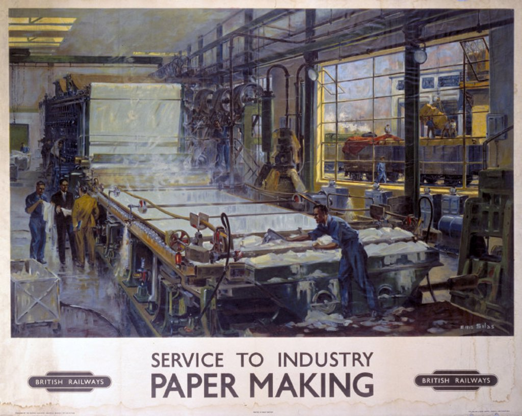 'Service to Industry: Paper Making', BR poster, 1950. : Stock Photo