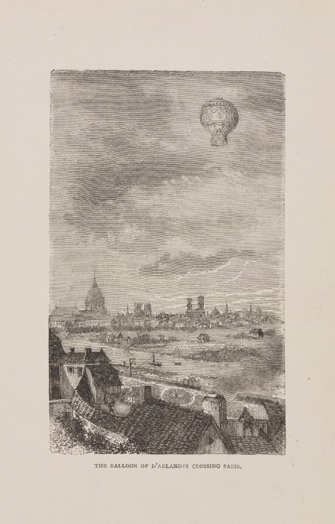 'The Balloon of d'Arlandes crossing Paris', 1783. : Stock Photo
