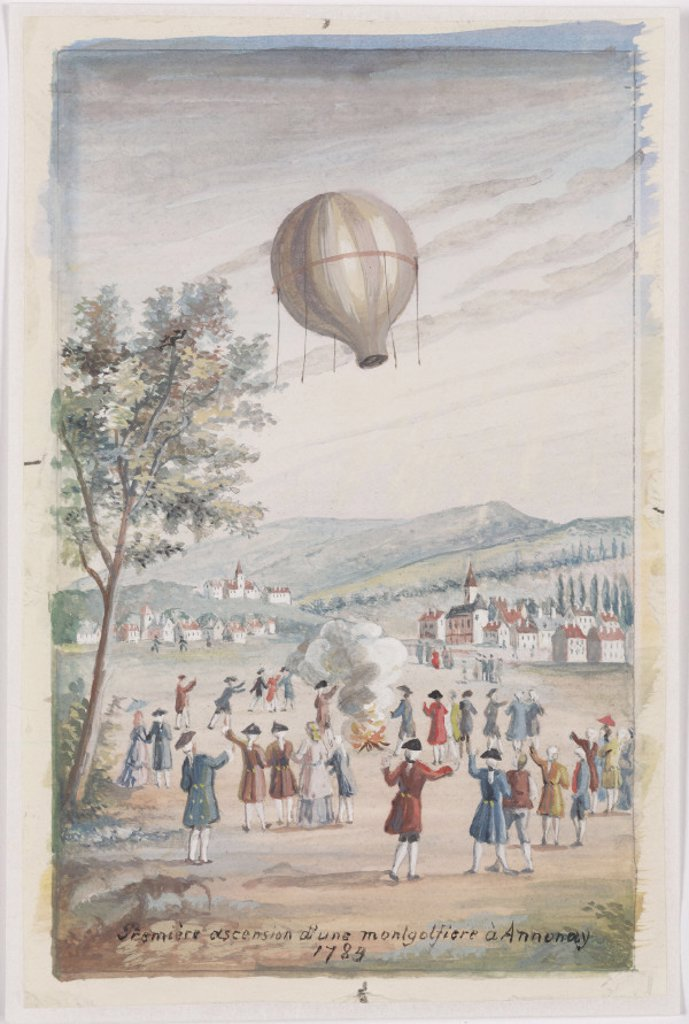 Stock Photo: 1895-23546 'First Ascension of a Montgolfier at Annonay', France, 5 June 1783.