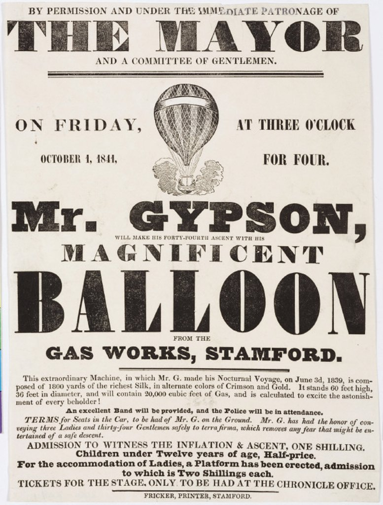 Handbill advertising Gypson's balloon ascent, 1 October 1841. : Stock Photo