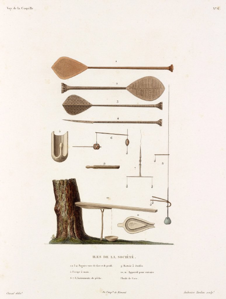 Various implements from the Society Islands, 1822-1825. : Stock Photo