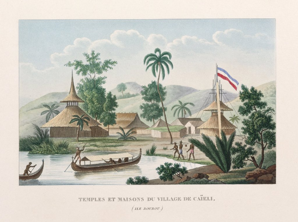Temples and houses in the village of Caieli, Island of Buru, 1822-1825. : Stock Photo