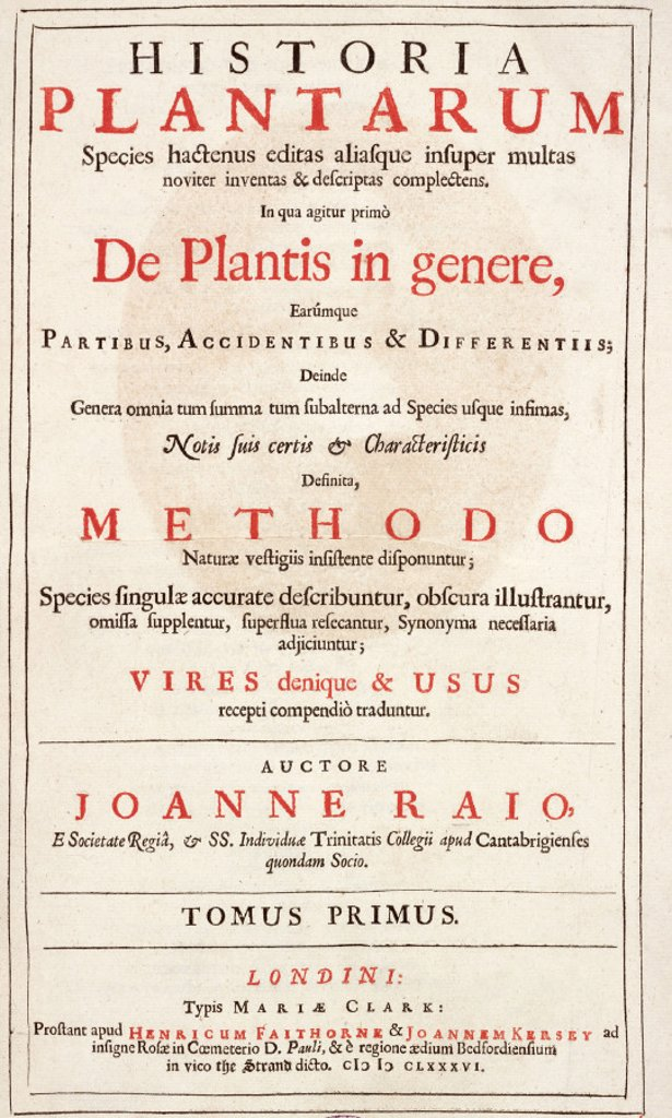 Title page from ´The History of Plants' by John Ray, 1686. : Stock Photo