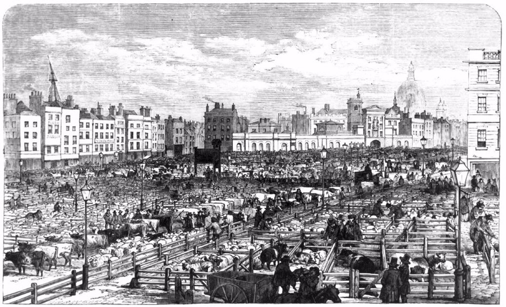 Stock Photo: 1895-23943 Smithfield Market, London 1855.