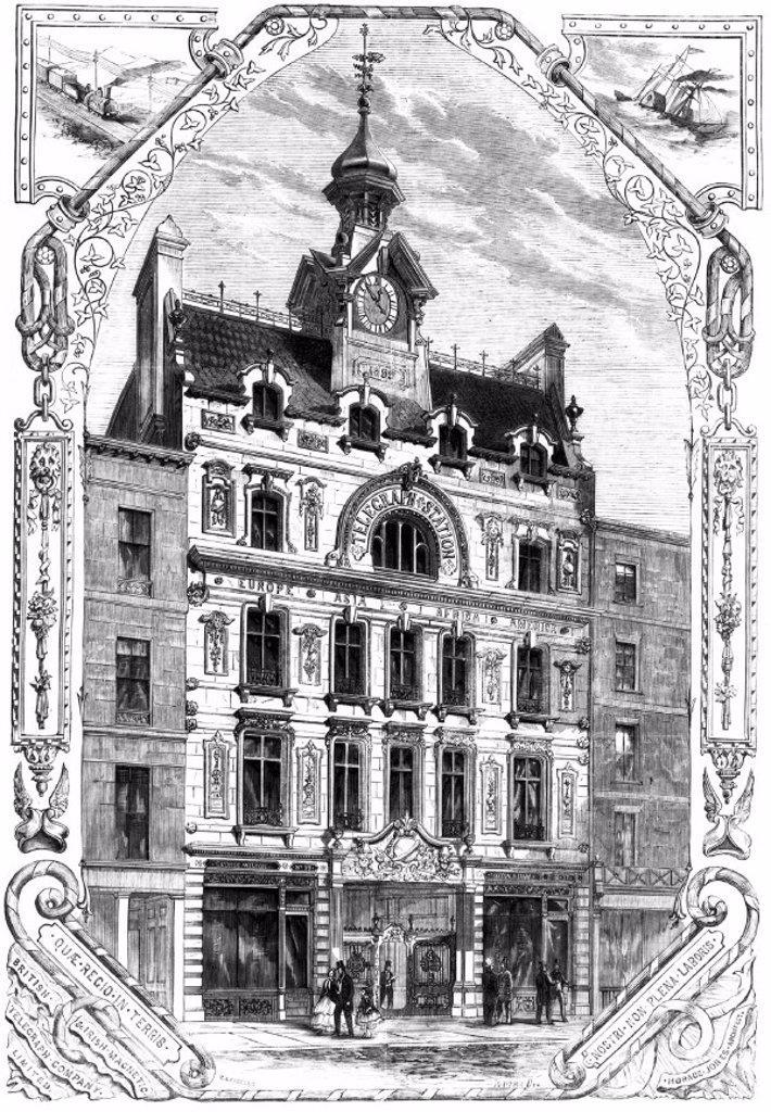 British and Irish Magnetic Telegraph Company office, 1859. : Stock Photo