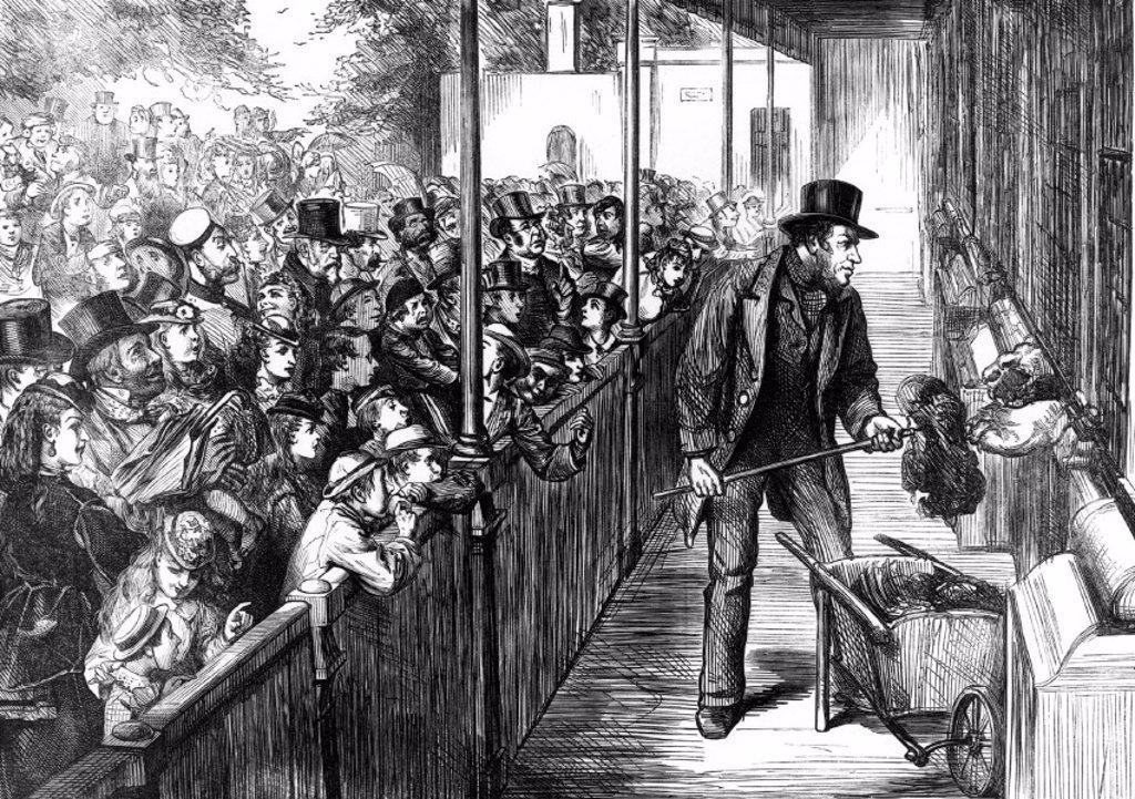 Stock Photo: 1895-23977 Bank holiday at the zoo, London, 1871.