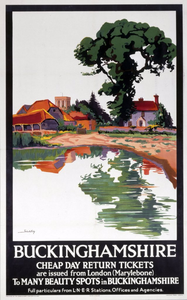 ´Buckinghamshire - Cheap Day Return Tickets', LNER poster, 1923-1947. : Stock Photo
