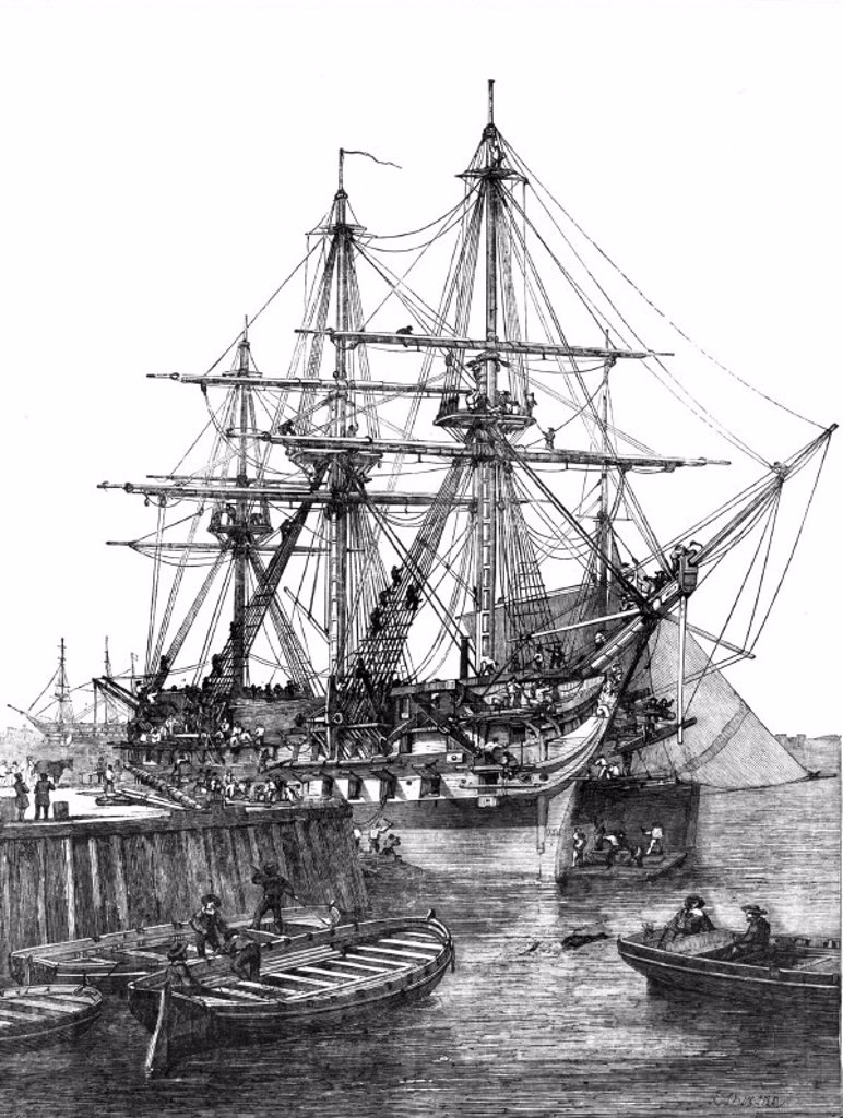 HMS 'Caesar', Portsmouth, 1854. : Stock Photo