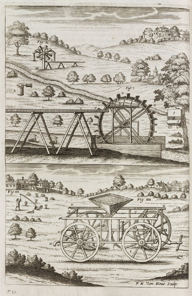Agricultural machinery, 1697. : Stock Photo