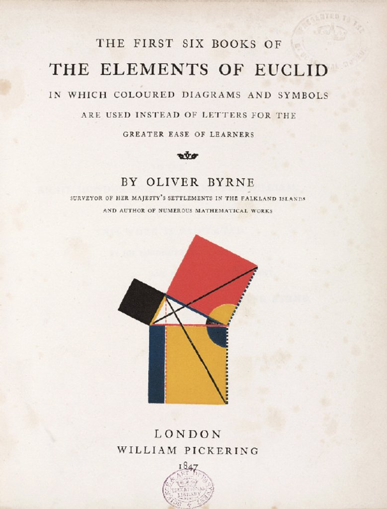 Title page to the 'Elements of Euclid', 1847. : Stock Photo