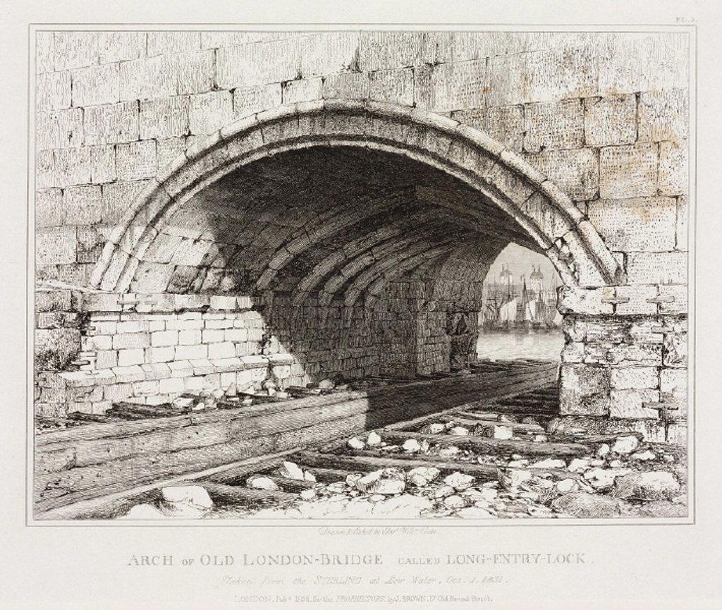 Old London Bridge, 1831. : Stock Photo