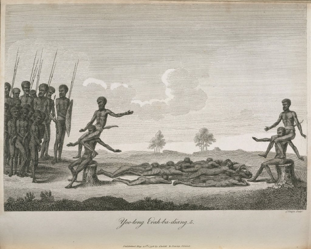 Aboriginal boys' initiation ritual, Australia, 1798. : Stock Photo