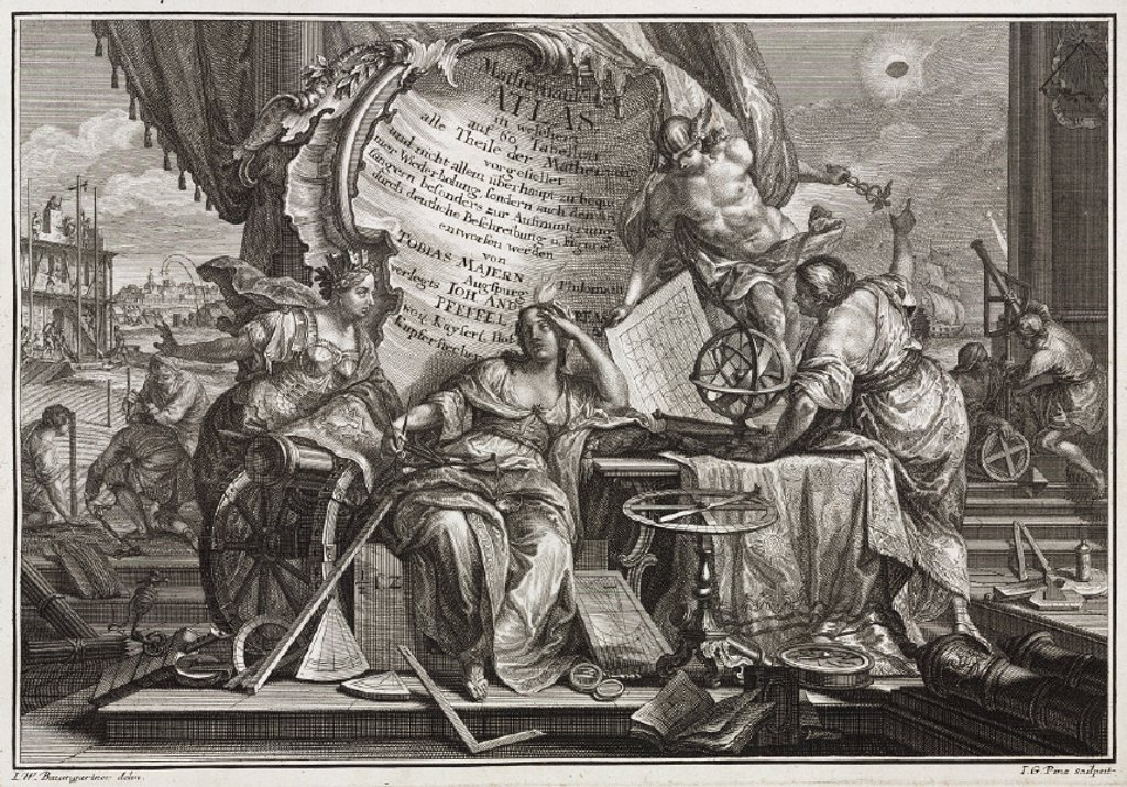 Engraved allegorical title page, 1745. : Stock Photo