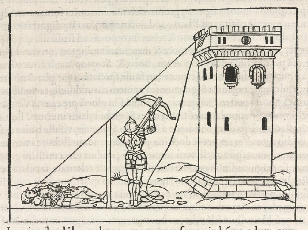 Method for determining the height of a tower by measuring the shadow, 1534. : Stock Photo
