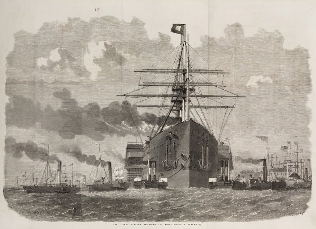 'The Great Eastern rounding the point opposite Blackwall', London, c 1859. : Stock Photo