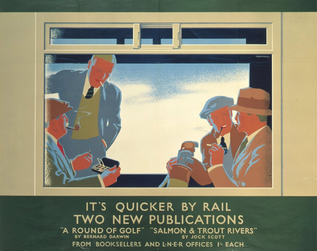 Stock Photo: 1895-2458 'It´s Quicker by Rail - Two New Publications´, LNER poster, 1923-1947.