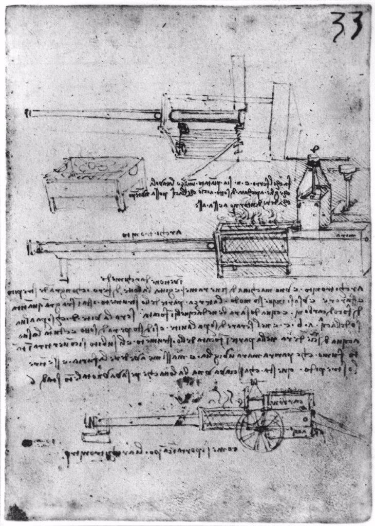 Stock Photo: 1895-25016 Da Vinci's design for a steam gun, late 15th century.