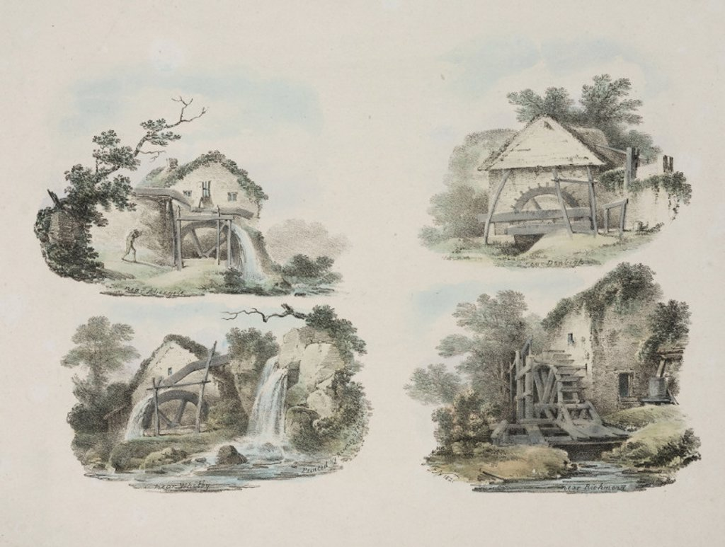 Rural watermills, 1821. : Stock Photo