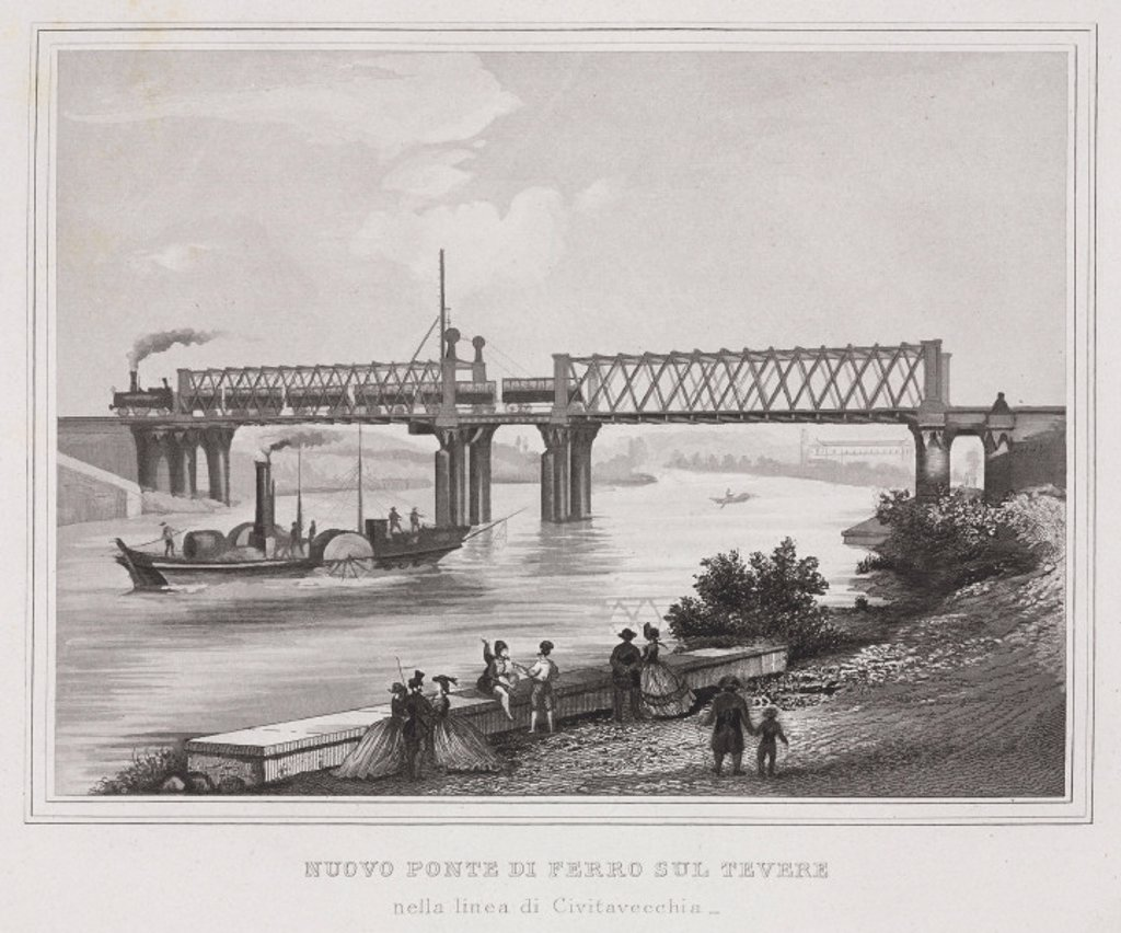 Stock Photo: 1895-25173 New iron bridge at Civitavecchia, Italy, c 1859.