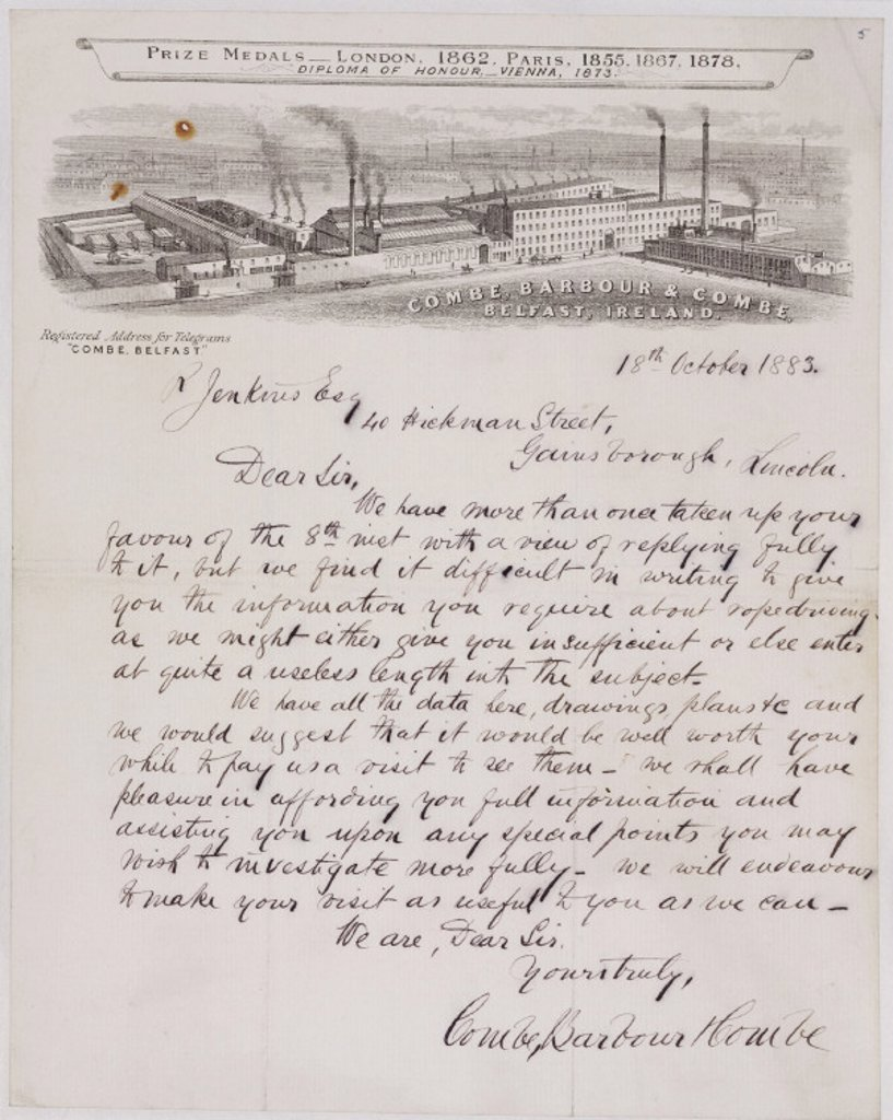 Stock Photo: 1895-25413 Letter from Combe, Barbour & Combe to R Jenkins, 18 October 1883.
