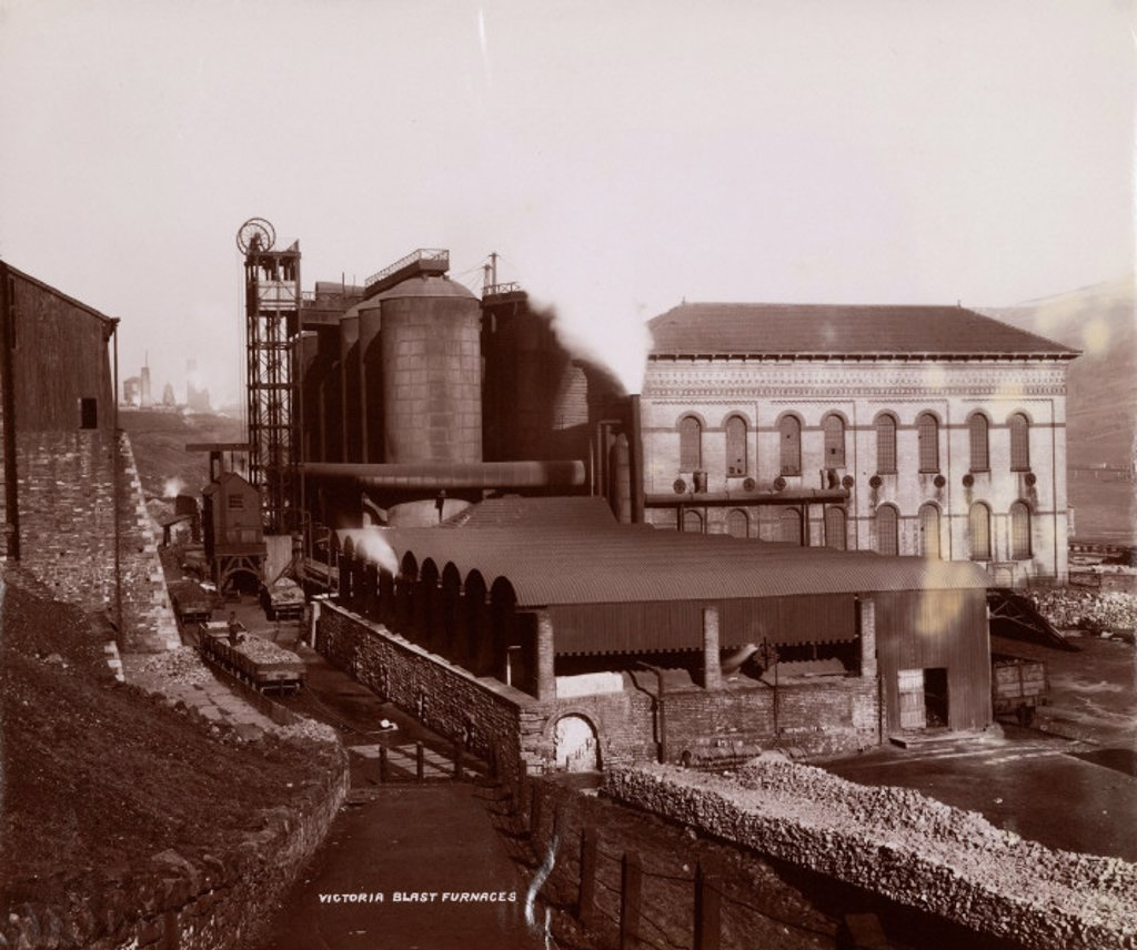 Victoria Blast Furnaces, South Wales, 1880-1895. : Stock Photo
