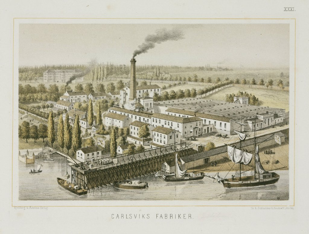 Textile factory, Carlsviks, Stockholm, Sweden, c 1840. : Stock Photo