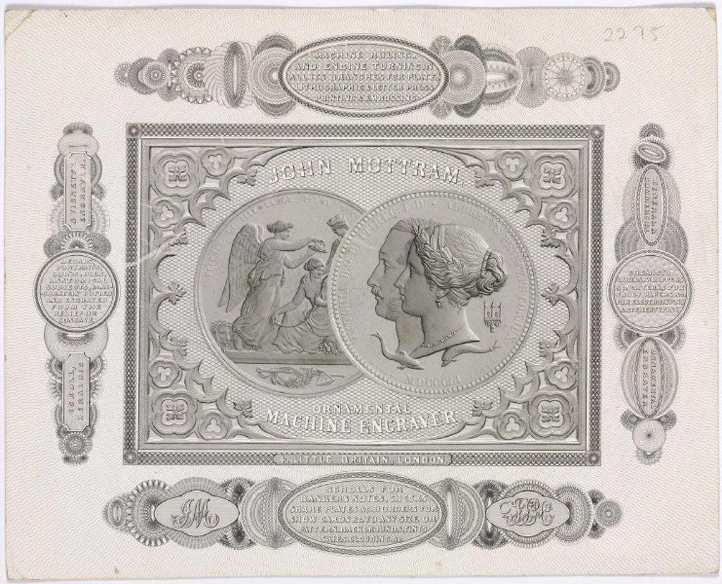 Trade card of John Mottram, engraver, c 1851. : Stock Photo