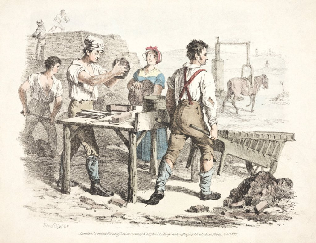 Brick making, 1821. : Stock Photo