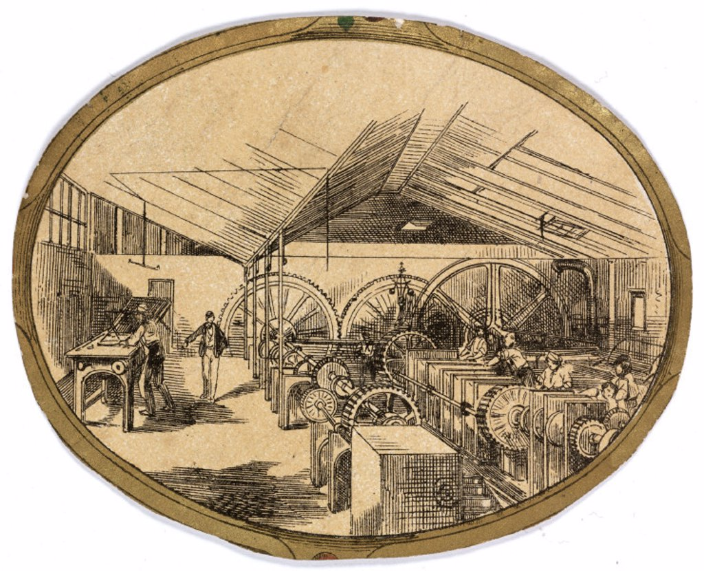 Stock Photo: 1895-25501 Workers at George Spill & Company, Stepney Green, London, 1855-1864.